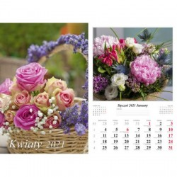Kalendarz 2021 Kwiaty 13 planszowy