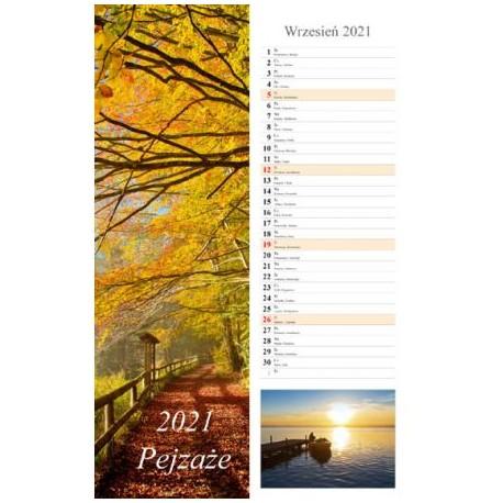Kalendarz 2021 Pejzaże 13 planszowy wąski